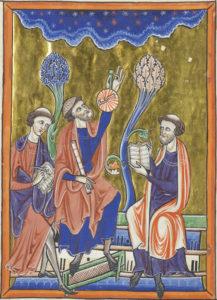 Ibn Ezra practicando Astronomía con manuscritos árabes